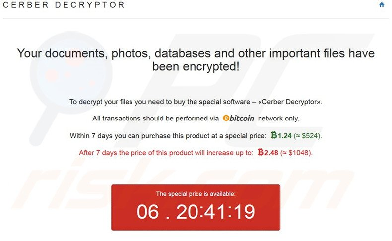 Warning message stating that files have been encrypted by Cerber ransomware