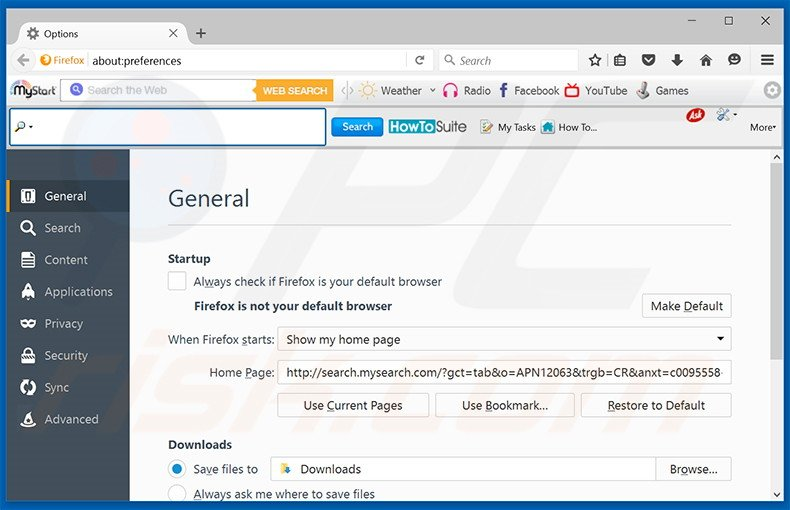 Removing search.mysearch.com from Mozilla Firefox homepage