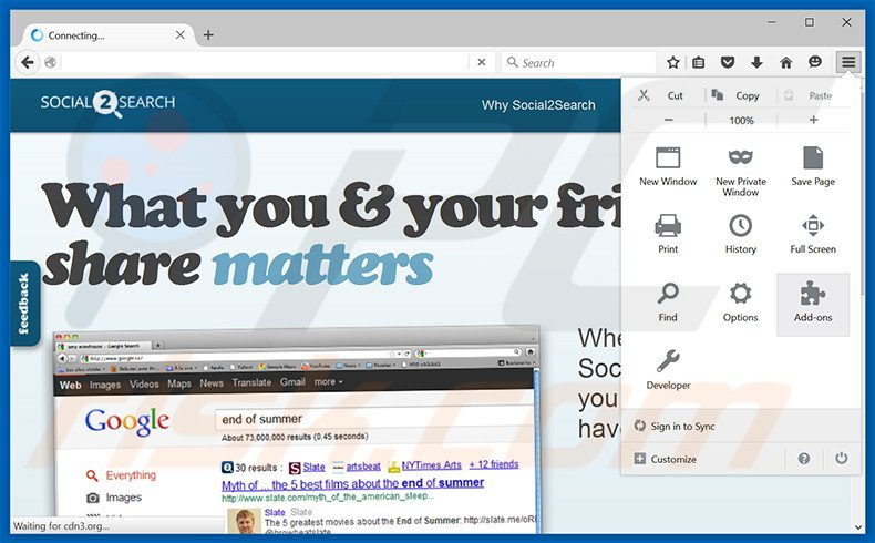 Removing Social2Search ads from Mozilla Firefox step 1