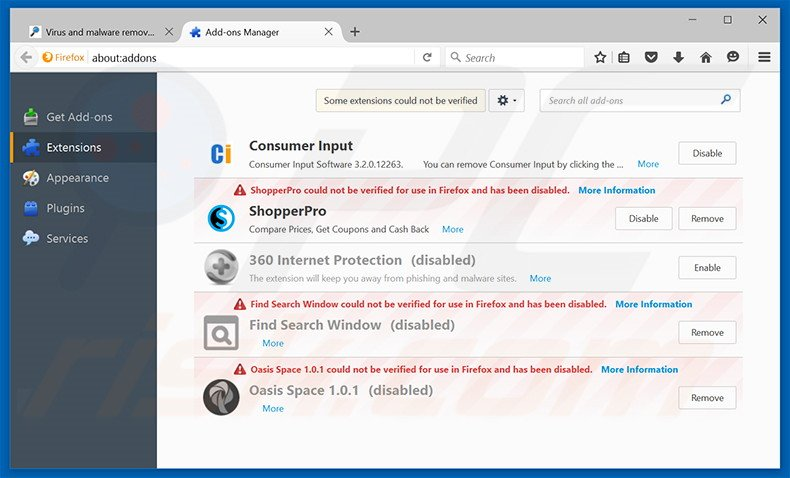 Removing Social2Search ads from Mozilla Firefox step 2