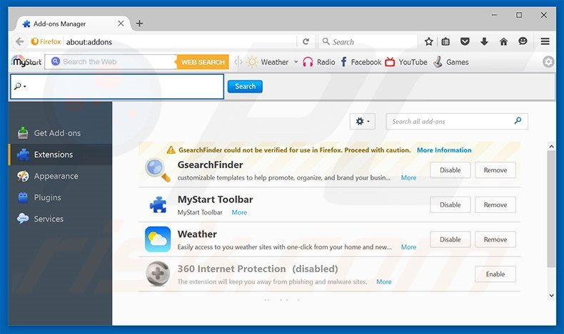 Removing delusive browser extensions from Mozilla Firefox (sample 2)