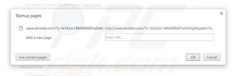Removing amisites.com from Google Chrome homepage