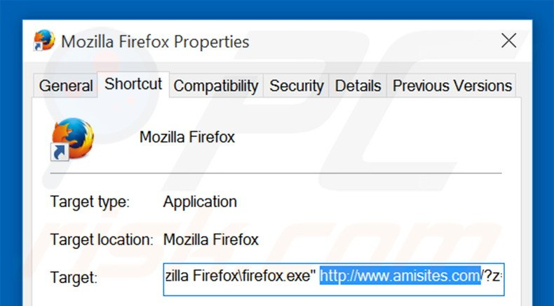 Removing amisites.com from Mozilla Firefox shortcut target step 2