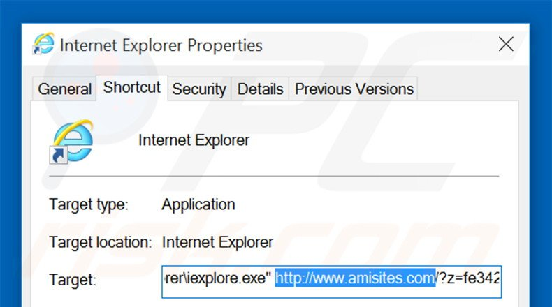 Removing amisites.com from Internet Explorer shortcut target step 2