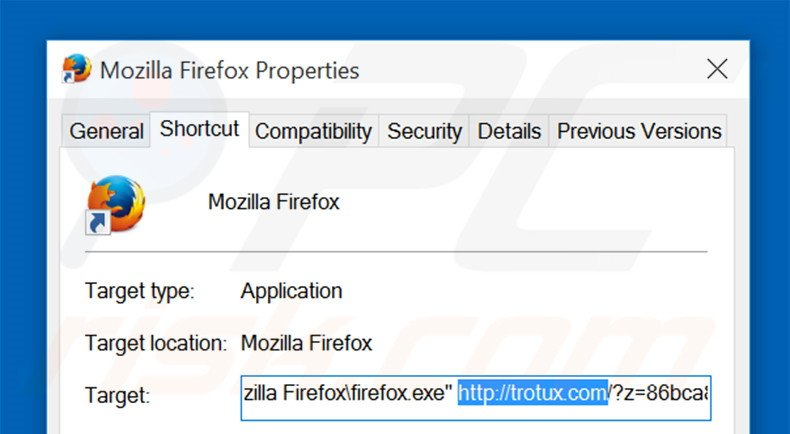 Removing trotux.com from Mozilla Firefox shortcut target step 2