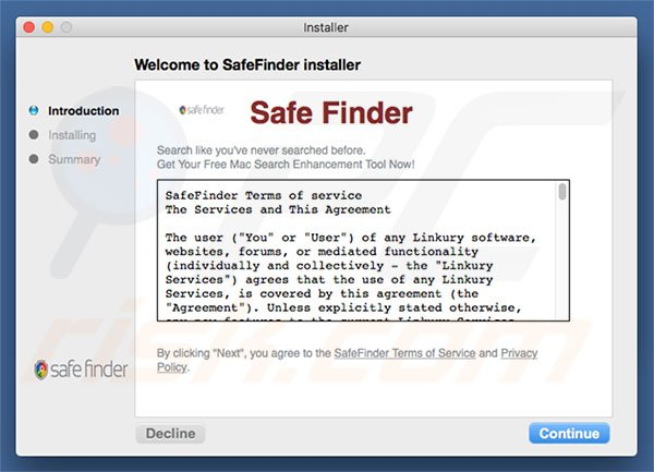 Delusive installer used to promote search.safefinderformac.com