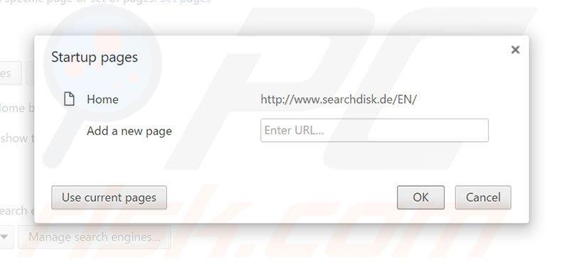 Removing searchdisk.de from Google Chrome homepage