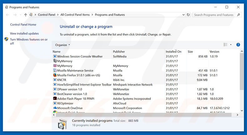 Do Not Ignore This Windows Alert adware uninstall via Control Panel