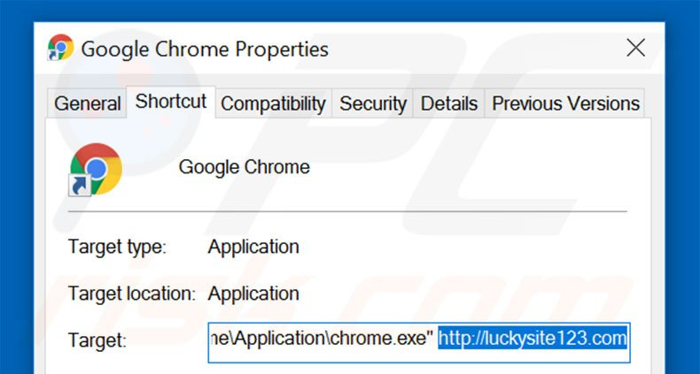 Removing luckysite123.com from Google Chrome shortcut target step 2