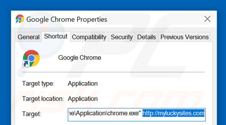 Removing myluckysites.com from Google Chrome shortcut target step 2