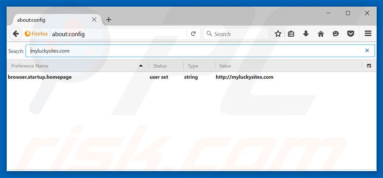 Removing myluckysites.com from Mozilla Firefox default search engine