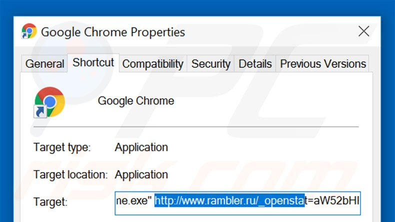 Removing rambler.ru from Google Chrome shortcut target step 2
