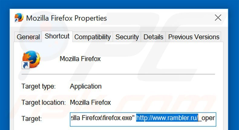 Removing rambler.ru from Mozilla Firefox shortcut target step 2