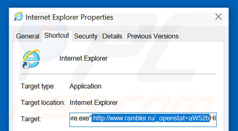 Removing rambler.ru from Internet Explorer shortcut target step 2