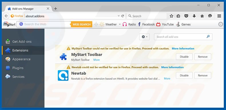 Removing yeadesktop.com related Mozilla Firefox extensions