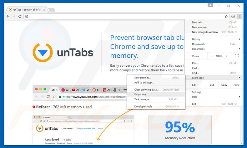 Removing unTabs  ads from Google Chrome step 1