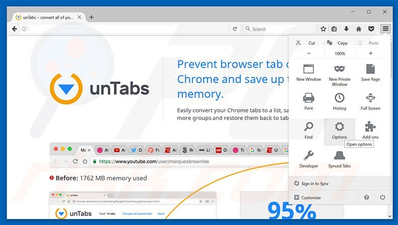 Removing unTabs ads from Mozilla Firefox step 1
