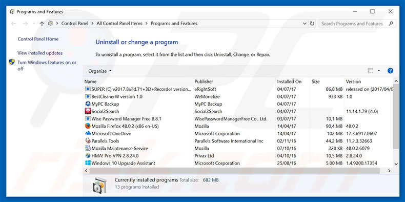 Windows Warning Alert adware uninstall via Control Panel