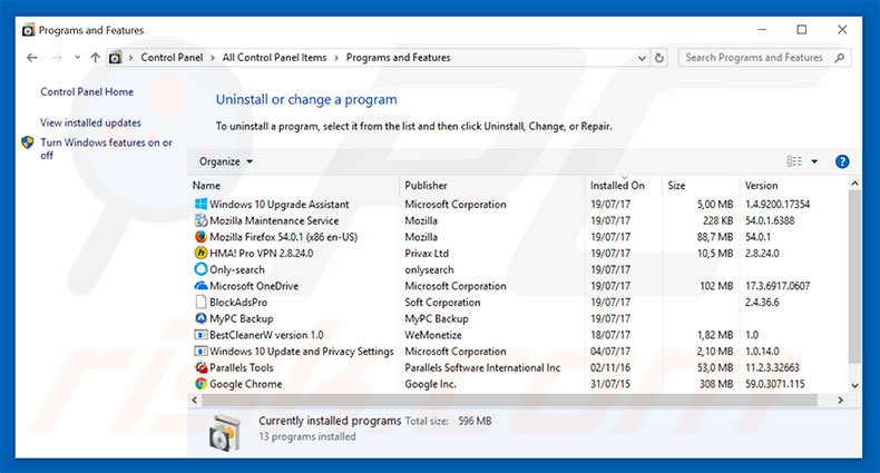 Microsoft System Security Alert adware uninstall via Control Panel