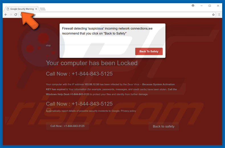 Google Security Warning adware