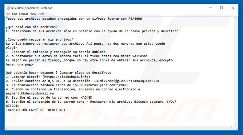 Hacked ransomware text file Spanish variant