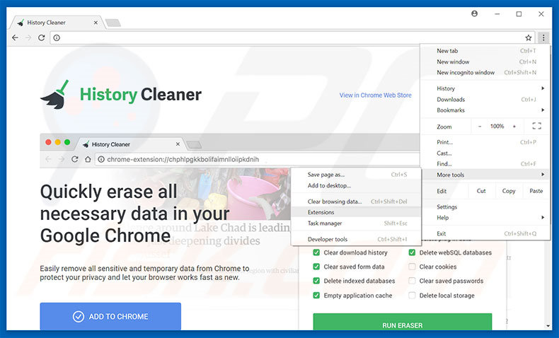 Removing History Cleaner  ads from Google Chrome step 1