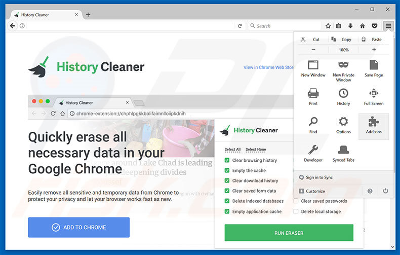 Removing History Cleaner ads from Mozilla Firefox step 1