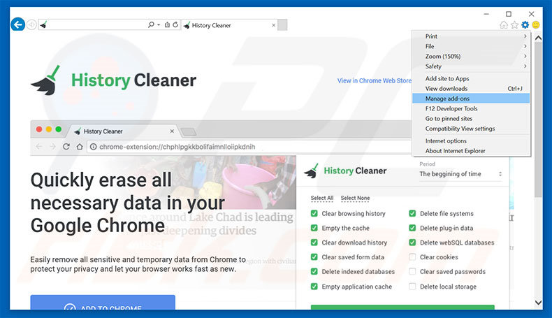 Removing History Cleaner ads from Internet Explorer step 1