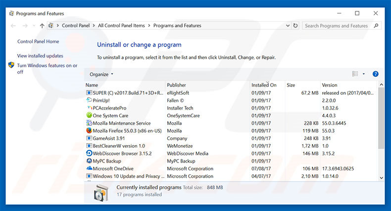 History Cleaner adware uninstall via Control Panel