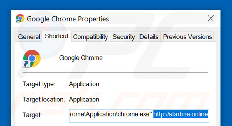 Removing startme.online from Google Chrome shortcut target step 2