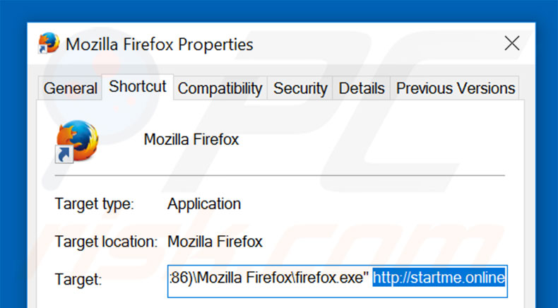 Removing startme.online from Mozilla Firefox shortcut target step 2