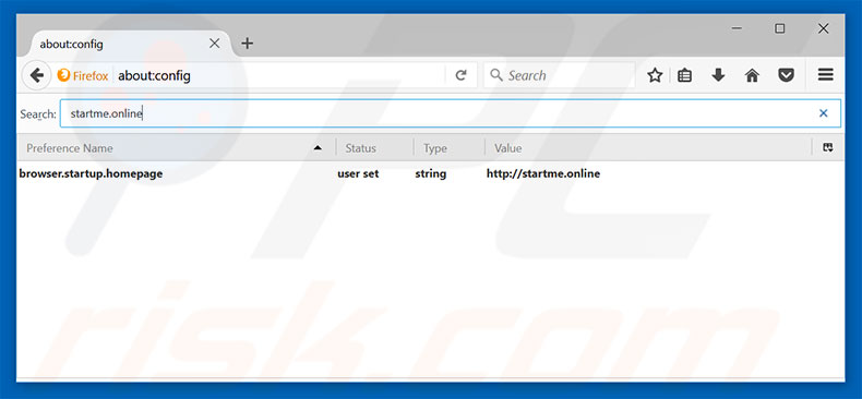Removing startme.online from Mozilla Firefox default search engine