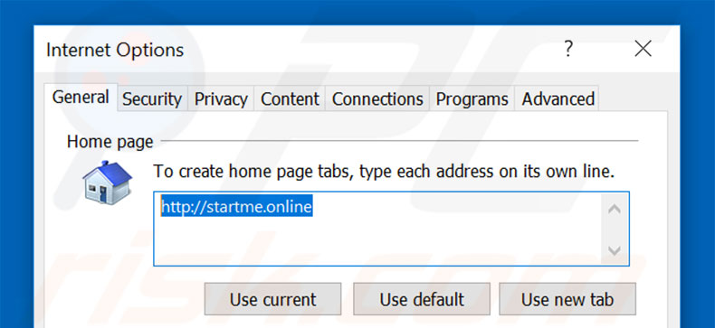 Removing startme.online from Internet Explorer homepage