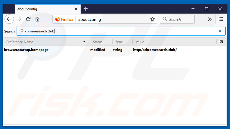 Removing chromesearch.club from Mozilla Firefox default search engine