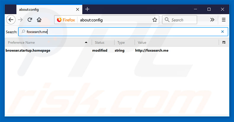 Removing foxsearch.me from Mozilla Firefox default search engine