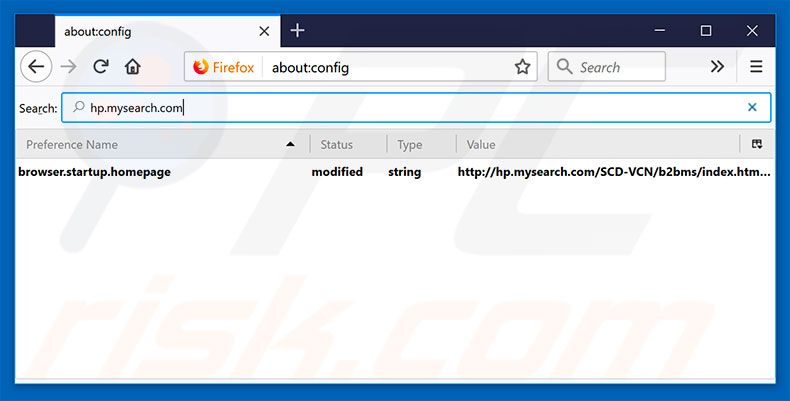 Removing hp.mysearch.com from Mozilla Firefox default search engine