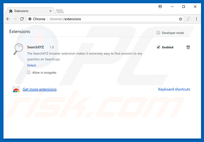 Removing search.xyz related Google Chrome extensions