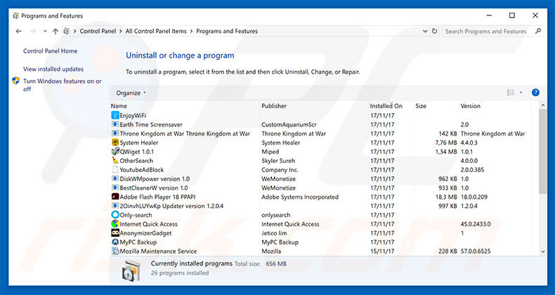 Windows Support Alert adware uninstall via Control Panel