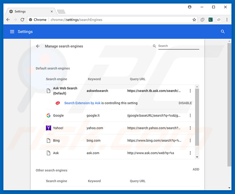 Removing browser hijacker from Google Chrome default search engine