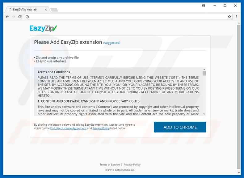 Website used to promote EazyZip browser hijacker