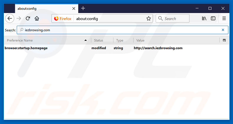 Removing search.iezbrowsing.com from Mozilla Firefox default search engine