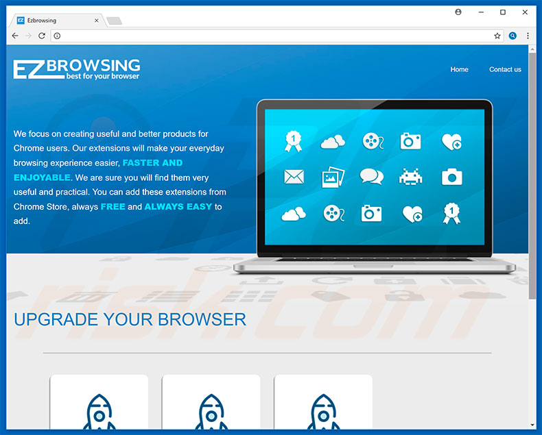 Website promoting EZbrowsing browser hijacker