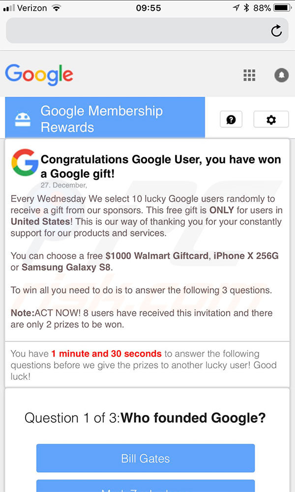 You Have Won A Google Gift mobile version