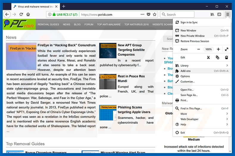 Removing Chrominio ads from Mozilla Firefox step 1