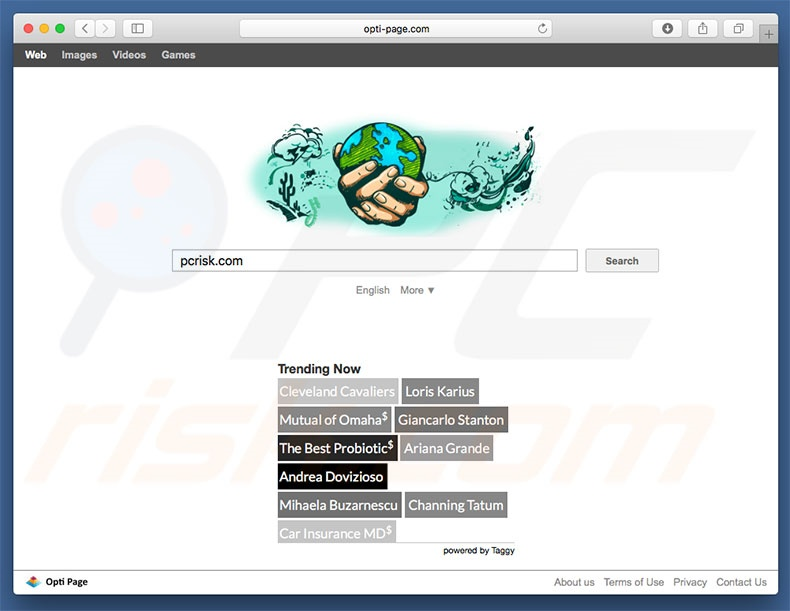 opti-page.com browser hijacker on a Mac computer