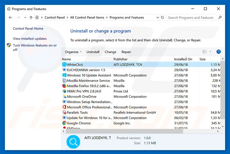 WhiteClick adware uninstall via Control Panel