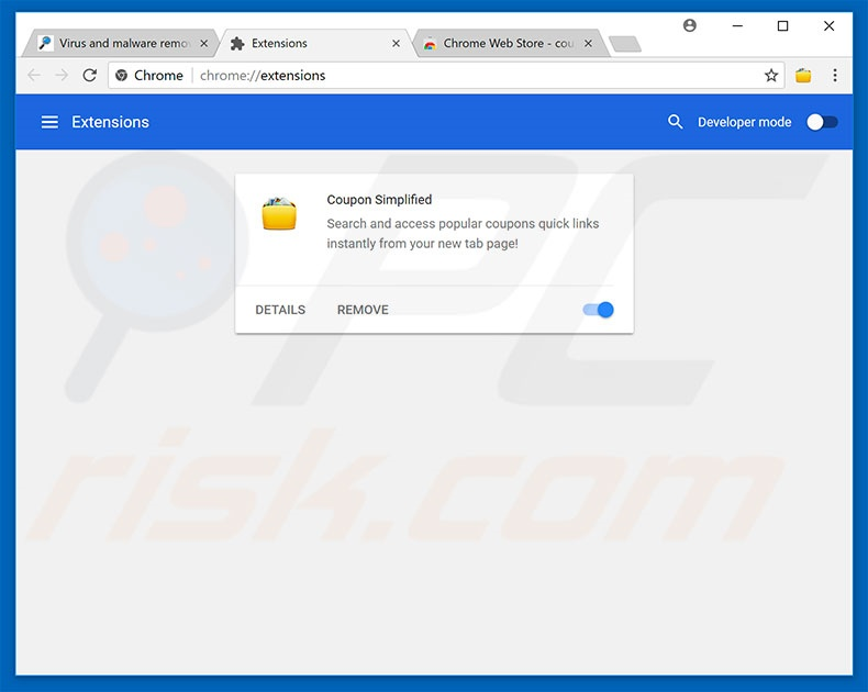 Removing FastDataX ads from Google Chrome step 2