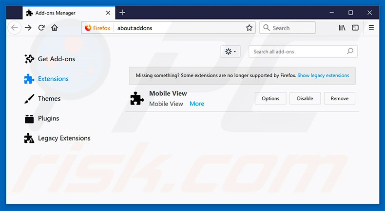 Removing FastDataX ads from Mozilla Firefox step 2