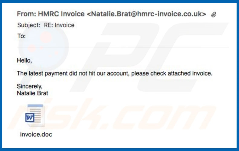 Invoice Email SPAM malware
