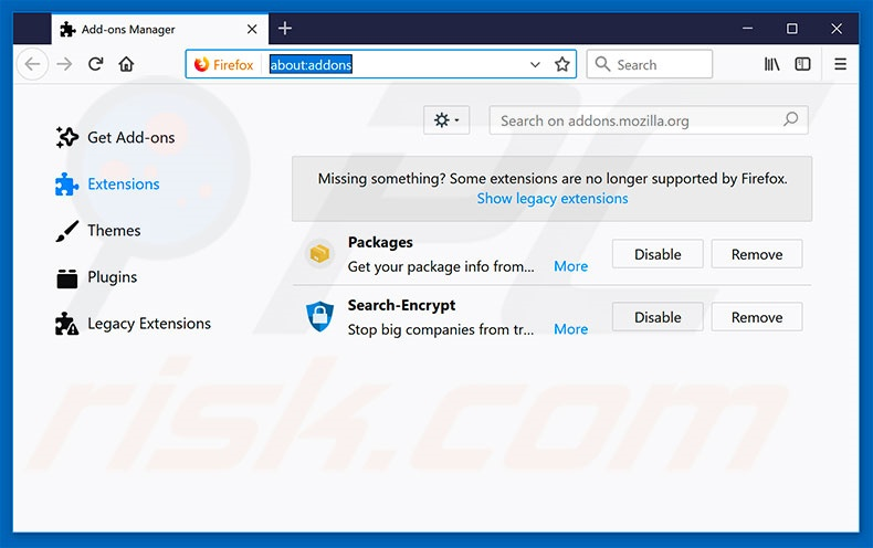 Removing search323892.xyz related Mozilla Firefox extensions